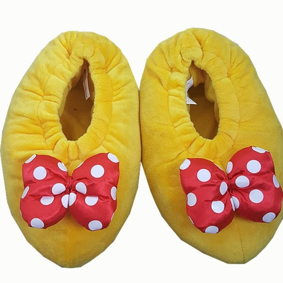 22ee6277154 Disney Shoes - Disney Parks Minnie Mouse Plush Yellow Slippers
